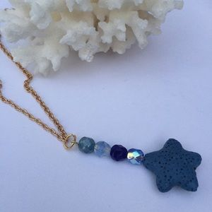 Aromatherapy necklace diffuser EO blue lava stone
