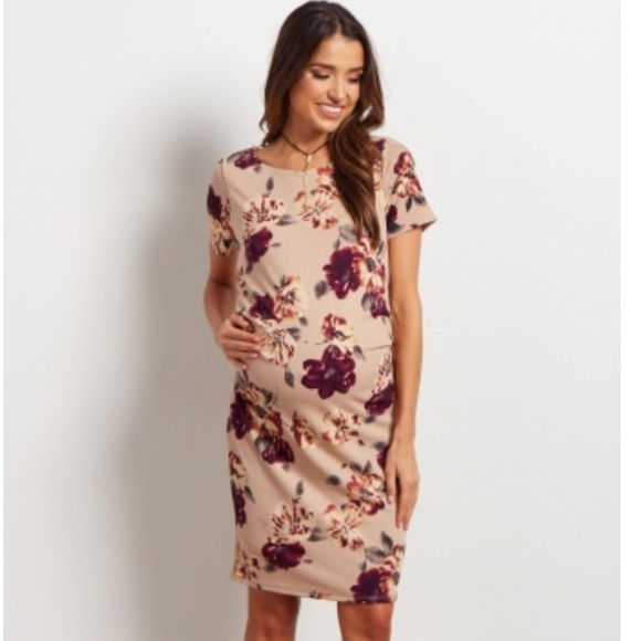 170ea84532d Taupe Floral Maternity Dress NWT