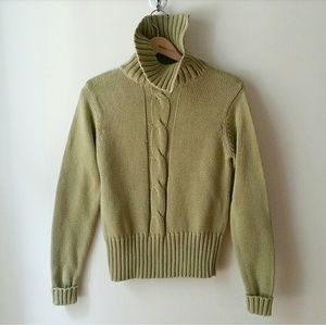 MERONA GREEN TURTLENECK CABLEKNIT SWEATER