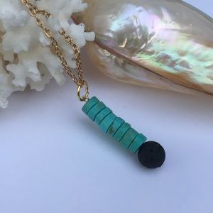 Turquoise howlite stick lava stone necklace EO