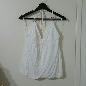 Trina Turk white halter top with bamboo like rings