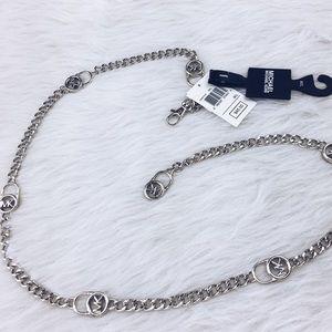 Michael Kors silver MK logo chain adjustable belt