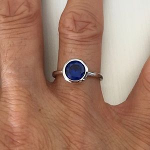 Jewelry - Sterling Silver Blue Sapphire CZ Ring