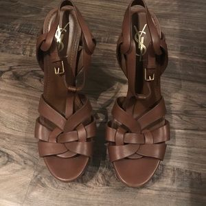 YSL Yves Saint Laurent Tribute Pumps brown leather