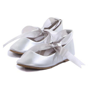 1d02dba0d755 Other - SILVER Balerina Flower Girl Shoes with Ribbon Ties