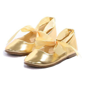 59fb0b2eacc0 Other - GOLD Balerina Flower Girl Shoes with Ribbon Ties