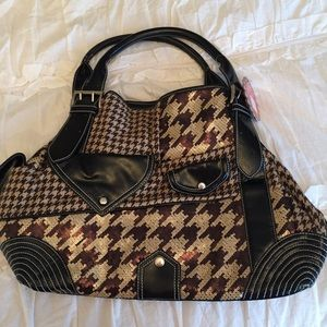 NWT Nicole Lee Houndstooth Sequins Purse