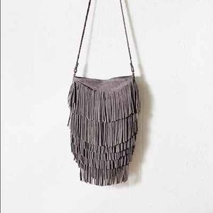 Urban outfitters gray fringe bag