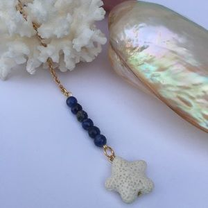 Lapis aromatherapy necklace EO diffuser