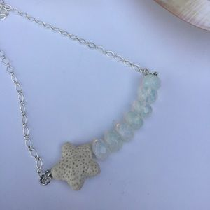 Opalite and lava stone diffuser bar necklace