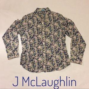 Indigo Floral Whitney Lawn cotton blouse