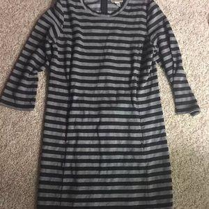 Kenar Black And Gray Striped Dress Medium
