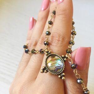 Abalone beaded choker necklace