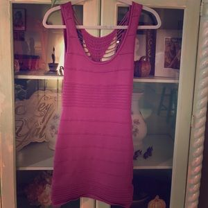 Fuschia BeBe bodycon dress.