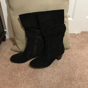 Kelly & Katie Black Suede Slouch Boots