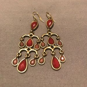 Lucky Brand Dark Red and Gold Earrings
