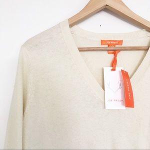 NWT Joe Fresh Cotton Cashmere V-neck Sweater Cream