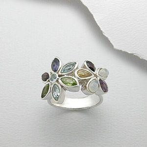Jewelry - Multi Gemstone Ring Sterling Silver Flowers Size 6