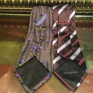 2 BEAUTIFUL ERMENEGILDO ZEGNA TIE 100% SILK