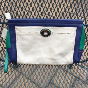 Coach colorblock leather clutch!