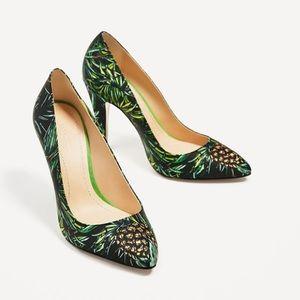 Zara leather high heel with print