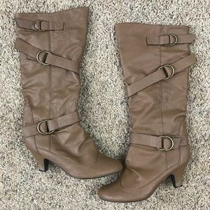 Brown Knee High Slip On Boots
