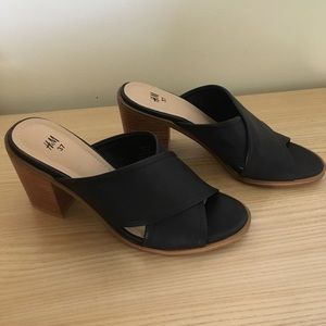 Black Leather Block Heel Sandals