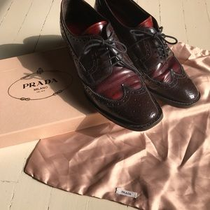 Maroon PRADA oxfords in like-new condition