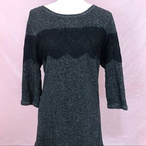 Gray and Black Lace Knit Tunic Top