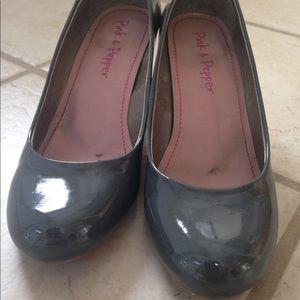 Gray patent heels