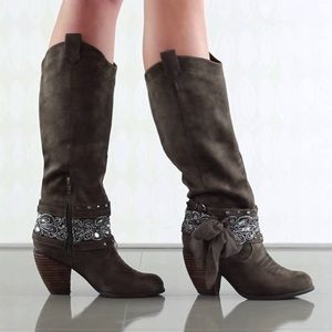 Gray Distressed Knee High Boots