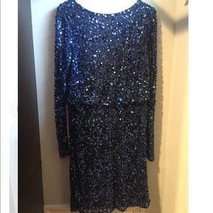 Boutique sequin blue dress with cowl back