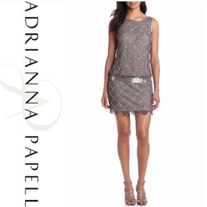 Adrianna Papell drop waist beaded dress size 4