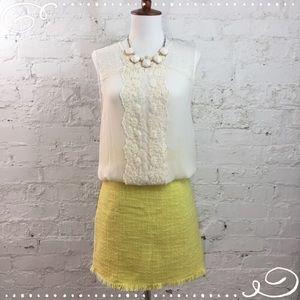 💛 KENAR Lemon Yellow Tweed Mini Skirt Lined