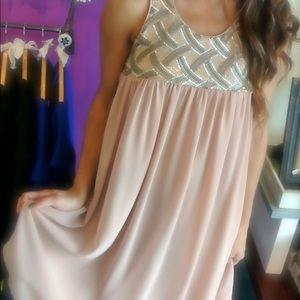 Blush Sequin Babydoll Dress by Ya Los Angeles