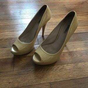 Miu Miu patent leather peep toe pumps