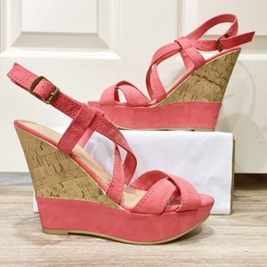 Spring coral strappy cork wedges