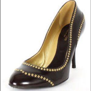 Sergio Rossi Dark Brown Grommet Heels, 9.5