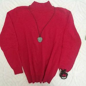 Anne Klein Red Knit Long Sleave Sweater sz M