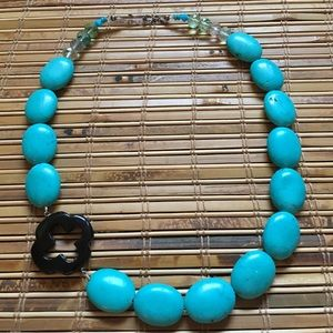 Jewelry - Turquoise Crystal Bead Statement Cross Necklace
