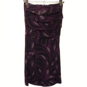 Banana Republic Purple Floral Strapless Dress XS