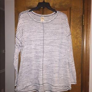 XL Grey Striped Tunic Sweater Faded Glory
