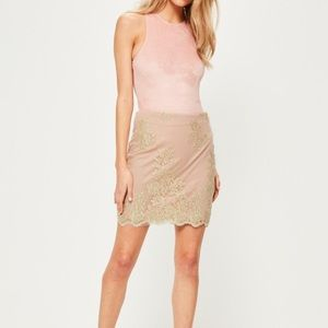 Missguided Premium Pink Embroidered Mini Skit