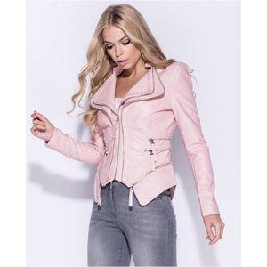 🆕 Pink Vegan Leather Moto Jacket