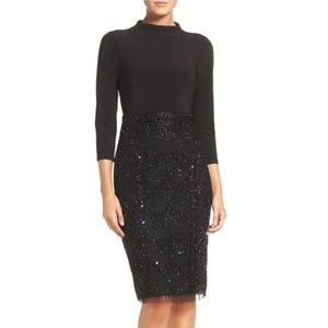 Adrianna Papell Beaded Mesh & Jersey Sheath Dress