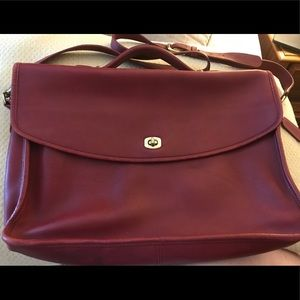 Vintage Coach red leather briefcase