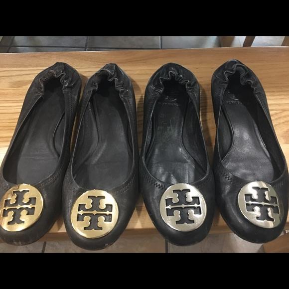 708fc1890fd487 2 pairs of Tory Burch reva flats(7.5) well used. M 59be9d363c6f9fb36607eba7