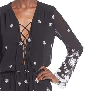 Wayf Long Sleeve Embroidered Romper