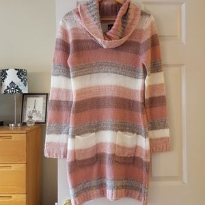 NEW grey, rose, and cream sweater dress size L