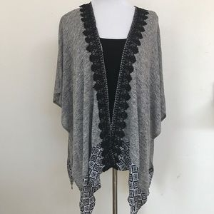 Skies are Blue Embroidered Open Cardigan